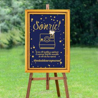 Cartel para etiquetar las fotos de la boda