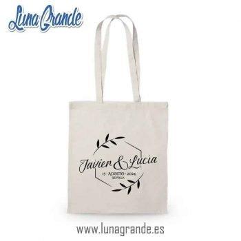 Bolsas de tela 100% Algodón, totalmente personalizadas y con el envío gratis a la península y Baleares. Diseño Floral para bodas, Ecológicas.