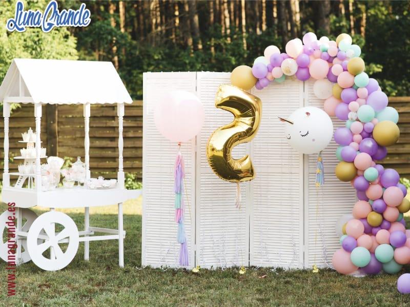 Candy bar y photocall para cumpleaños infantiles