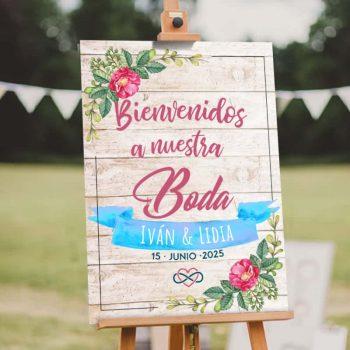 Cartel de boda madera floral acuarela