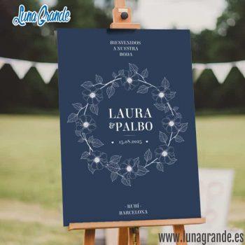 Cartel de Boda Bienvenida Floral Azul Blanco Dorado envío gratis