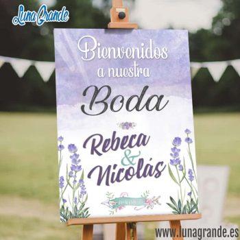 Cartel Bienvenida de Boda Floral Lavanda