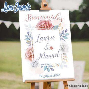 Cartel Bienvenida Boda - Floral Rosas