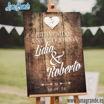Cartel de boda bienvenida Madera