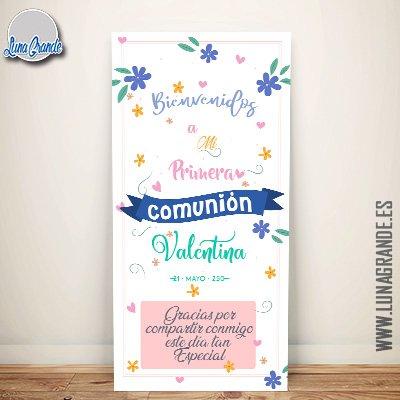 Cartel Bienvenida Comunión Niña