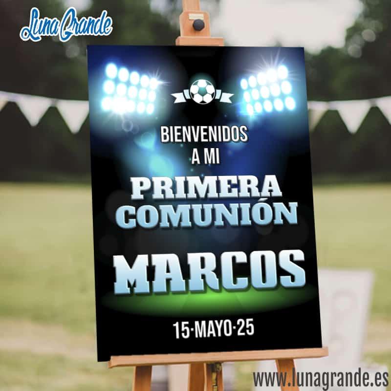 Cartel Bienvenida Comunión fútbol
