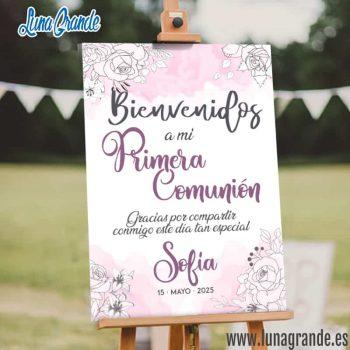 Cartel Bienvenida Comunión personalizado Rosas