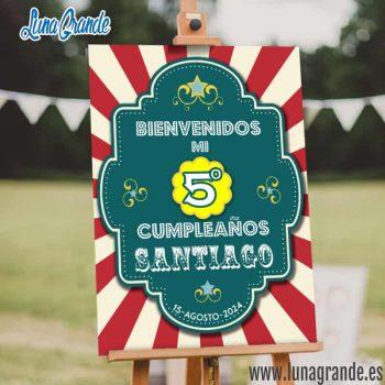 Cartel Bienvenida Cumpleaños Circo