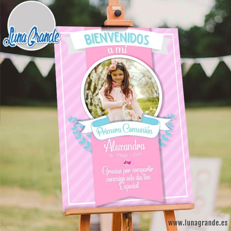 Cartel Bienvenida Primera Comunión Rosa