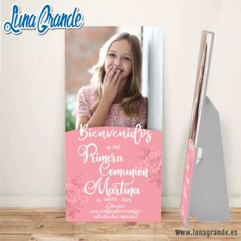 Cartel Bienvenida Primera Comunión floral Foto