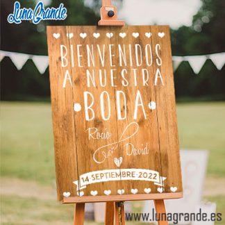 Cartel Bienvenida a Nuestra Boda Love Infinito Madera