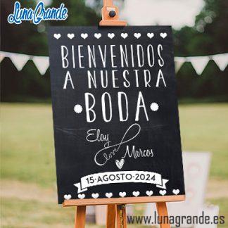 Cartel Bienvenida a Nuestra Boda Love Infinito Pizarra