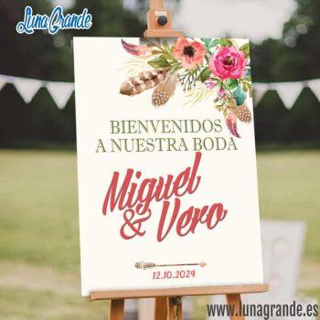Cartel Bienvenidos a nuestra boda envío gratis