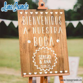 Cartel Bienvenida de Boda personalizado Madera