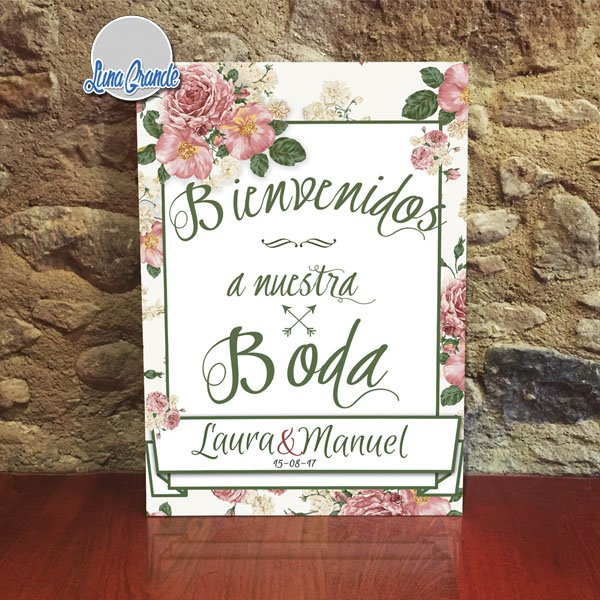 Cartel de Boda Bienvenida Floral