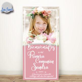 Cartel bienvenida comunión con foto niña