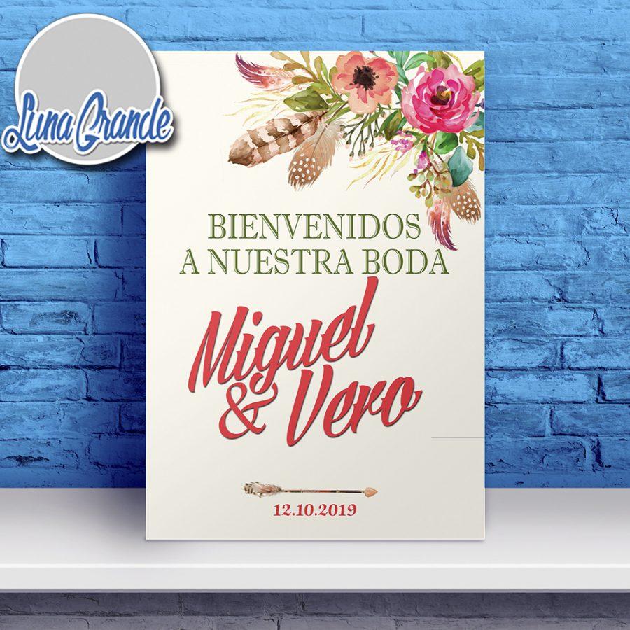 Cartel de Bienvenida Boda Floral Pluma lg