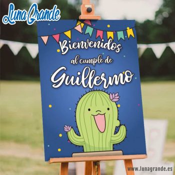 Cartel de Bienvenida Cumpleaños Cactus