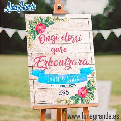 Cartel de boda madera floral acuarela euskera