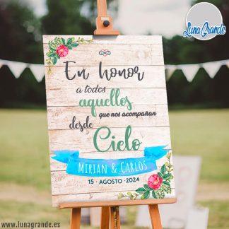 Cartel en Honor de los ausentes · Madera