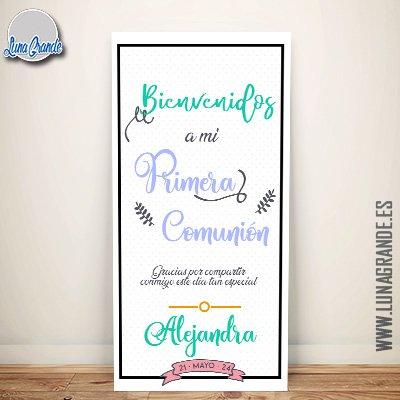 Cartel para dar la bienvenida a los invitados de la Primera Comunión