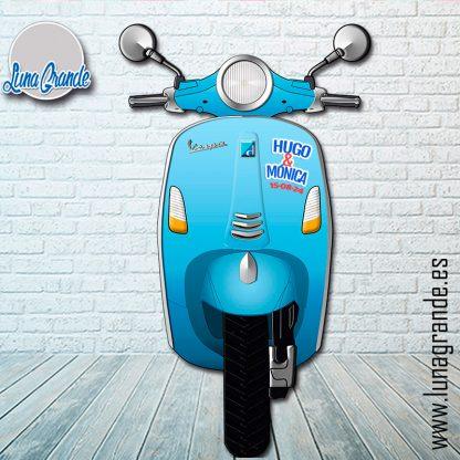 Atrezzo para Photocall Vespa Azul Personalizada