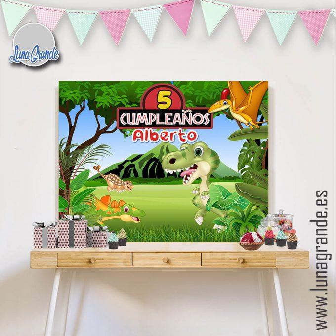 Fondo Mesa Dulce Candy Bar Cumpleaños - Dinosaurio Lg