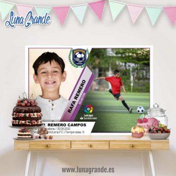 Fondo Mesas dulces Cumpleaños cromo de fútbol