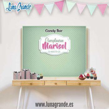 Mesa de dulces de Cumpleaños con Fondo personalizado de lunares