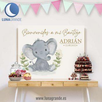 Fondo para mesas dulces Bautizo Elefante