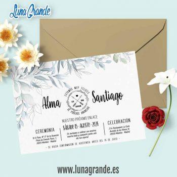 Invitación de Boda Floral Hojas