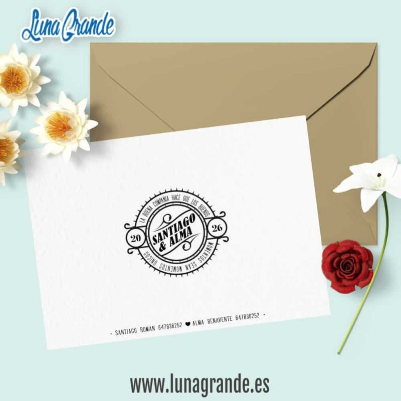 Invitación de Boda Floral Hojas reverso
