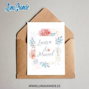 Invitación de Boda Floral Rosas personalizadas