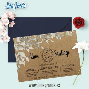 Invitación de Boda Kraft Floral Hojas