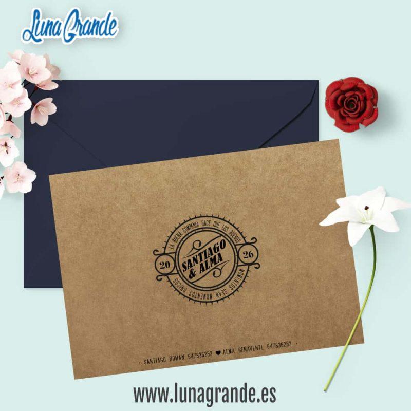 Invitación de Boda Kraft Floral Hojas Reverso