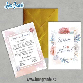 Invitación de Boda Floral Rosas