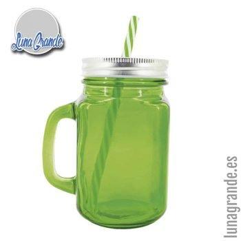 Jarras de Cristal verde con tapa