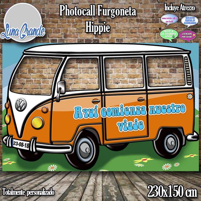 Photocall furgoneta hippie naranja