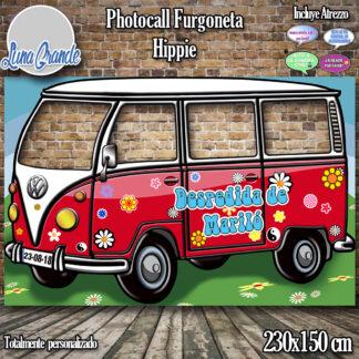 Photocall furgoneta hippie roja con cuatro ventanas