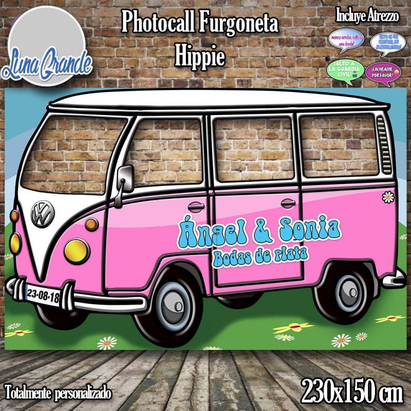 Photocall furgoneta hippie rosa