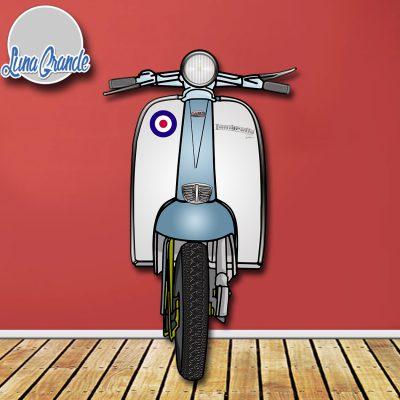 Moto Scooter Lambretta Celesta y blanca para photocall Cartón