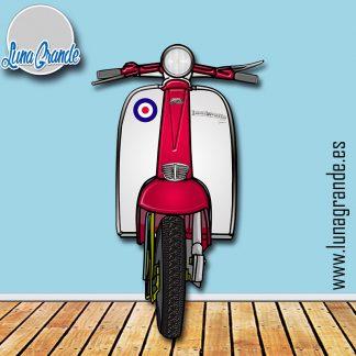 Moto Scooter Lambretta Roja y blanca para photocall