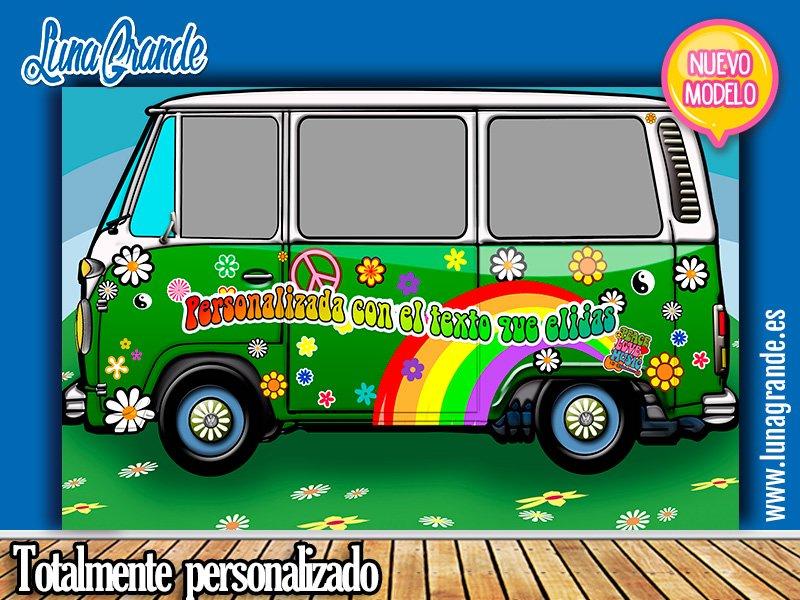 Nuevo Photocall furgoneta hippie en verde oscuro