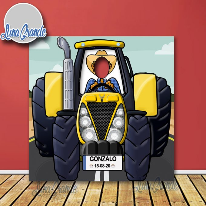 Photocal infantil Tractor amarillo con chofer