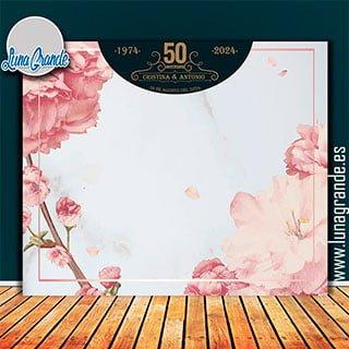 Photocall Aniversario floral Marmol