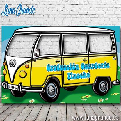 Photocall Furgoneta Hippie Cuatro ventanas Amarillo