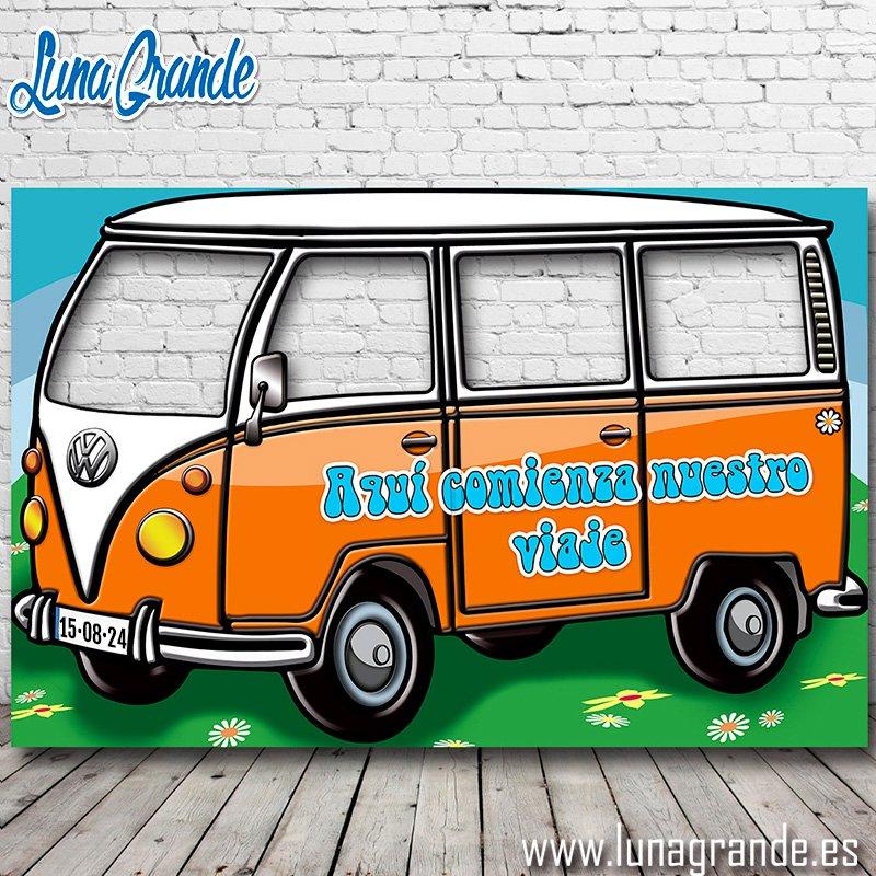 Photocall Furgoneta Hippie Cuatro ventanas Naranja