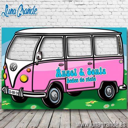 Photocall Furgoneta Hippie Cuatro ventanas rosa