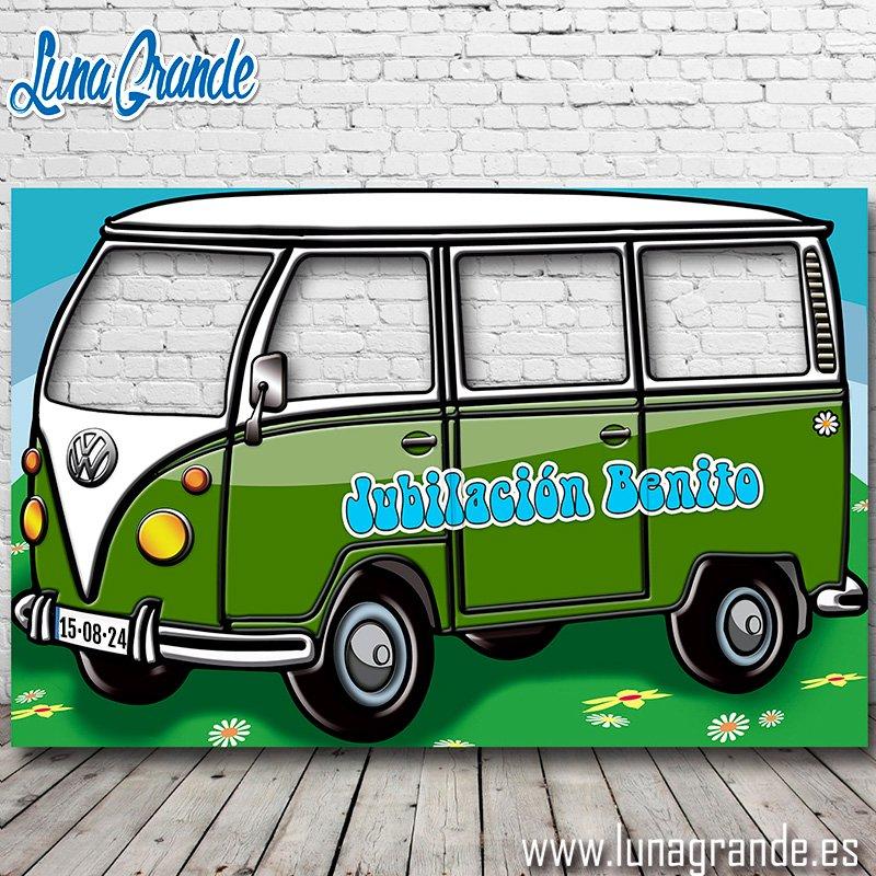 Photocall Furgoneta Hippie Cuatro ventanas verde