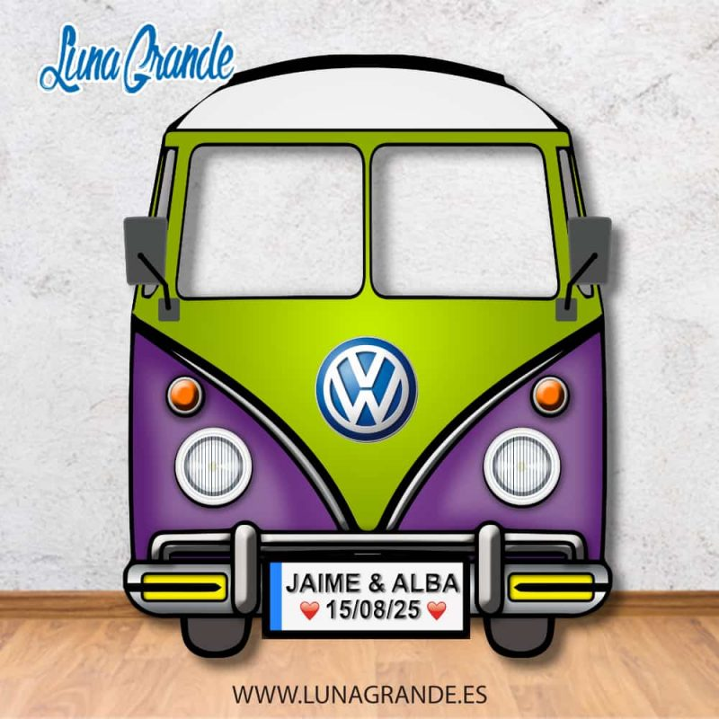 Photocall furgoneta hippie Morado y Verde